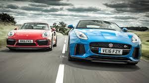 jaguar f type vs porsche 911 2017 jaguar f type svr vs 2017 porsche 911 turbo s