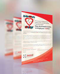 upmarket serious flyer design for accel health u0026 safety by