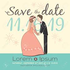 Save The Date Wedding Cards Cute Groom And Bride Cartoon Save The Date Wedding Invitation