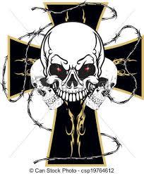 cross skull worn motorcyclists the cross with three skulls