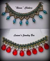 beaded choker necklace images Diy christmas beaded choker with superduo beads quot reina quot beading jpg