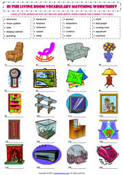 List Of Living Room Furniture Room Esl Printable Worksheets And Exercises
