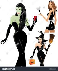 french halloween costumes halloween costumes trio women stock vector 85680763