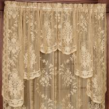 White Lace Shower Curtain With Valance by Fiona Scottish Lace Swag Valance Window Treatment