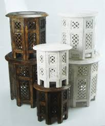 beautiful round brown white hand carved indian wooden coffee table