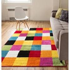 Modern Contemporary Rug Woven Bright Geometric Square Multi Color Block Modern