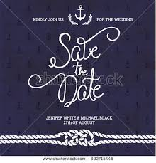 Nautical Save The Date Save Date Typography Wedding Invitation Nautical Stock Vector