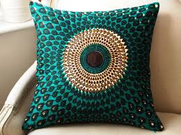 Silk Peacock Home Decor Teal Silk Pillow Cushion Cover Wax Print Batik Random