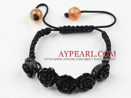 black rose bracelet images Fashion style black rose flower imitation turquoise woven jpg