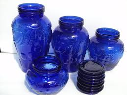 canister set of four cobalt blue apothecary glass jars country