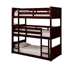 Therese Espresso Triple Twin Bunk Bed  Beds In - Espresso bunk bed