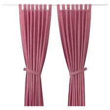 lenda curtains with tie backs 1 pair light red 140x250 cm ikea