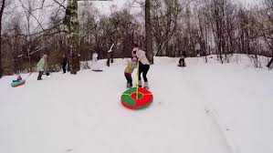 moscow jan 31 2015 slide on inner by snow slope at