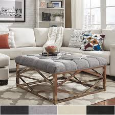 overstock ottoman coffee table solene geometric base square ottoman coffee table chagne gold