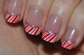 candy cane nails holiday french tips nail art youtube