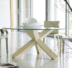 Glass Round Kitchen Table by Glass And Wood Dining Table