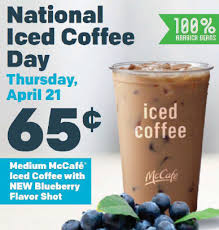 Iced Coffee Mcd mcdonald s medium mccaf礬皰 iced coffee with blueberry flavor