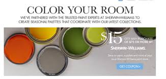15 off 75 purchase coupon from sherwin williams via pottery barn