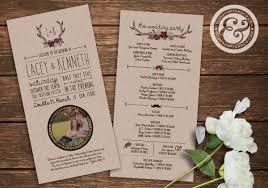 Country Wedding Programs Printable Rustic Country Wedding Programs Antlers U0026 Flowers
