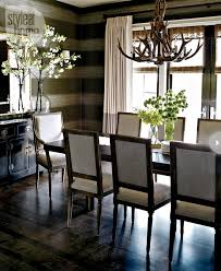 Chic Dining Room Interior Cozy Chic Mirror Striped Wallpaper And