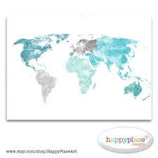World Map Art Print by Large World Map Print Aqua Turquoise And Green Watercolor Map