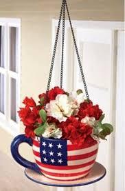 patriotic hanging teacup flag planter large 8 inch diameter flower