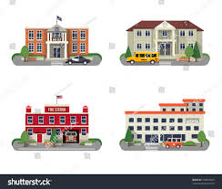 municipal buildings icons set police department stock vector