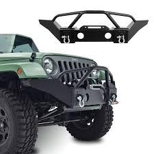 jeep rubicon winch bumper gsi 07 16 jeep wrangler jk black textured full width heavy duty