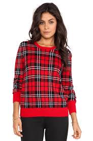 plaid sweater equipment shane scholarly plaid crewneck sweater in strawberry