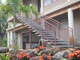 outdoor stair railing with simple prefab exterior stair railing