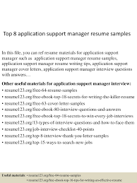 Sample Resume Application by Top8applicationsupportmanagerresumesamples 150521074751 Lva1 App6892 Thumbnail 4 Jpg Cb U003d1432194491