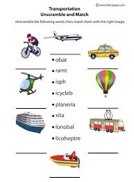 transportation unscramble worksheets clipart pinterest