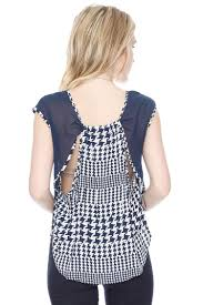 houndstooth blouse houndstooth open back blouse shirts blouses grayson shop