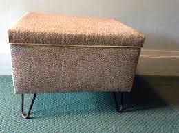 mid century vinyl ottoman stool hairpin legs brown tweed storage