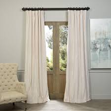Home Classics Blackout Curtain Panel by Exclusive Fabrics Signature Ivory Velvet Blackout Curtain Panel