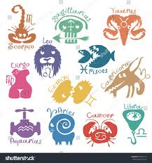 vector set funny color zodiac signs stock vector 566071516