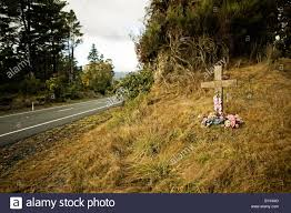 roadside memorial crosses cross beside state highway one near turangi new zealand probably a