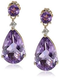 amethyst drop earrings 10k yellow gold amethyst and diamond drop earrings