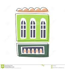 simple green living house cute fairy tale city landscape element