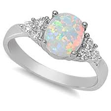 Opal Wedding Rings by Amazon Com White Australian Opal U0026 White Cz Ring Jewelry