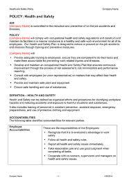health and safety policy health and safety policy plans