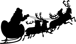 santa sleigh and reindeer santa sleigh and reindeer silhouette free vector silhouettes