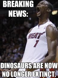 Chris Bosh Dinosaur Meme - the battle of the nba finals memes upi com