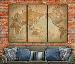 Map Art World Map With Countries Canvas Art Vintage Map Art Map Of