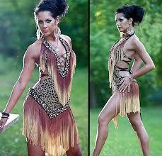 tribal ombré fringe lace up salsa dress special order dance