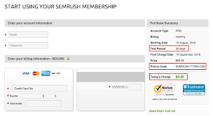 semrush 30 days free trial account coupon code 2017