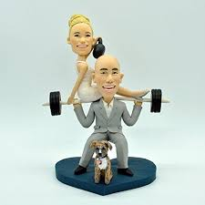 weight lifting cake topper wedding bobbleheads wedding cake topper custom wedding