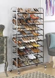 amazon com whitmor 50 pair shoe tower chrome with wheels home