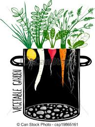 grow vegetable garden and cook soup food illustration in clip