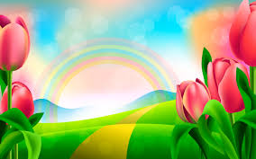 tulips rainbow paintings wallpapers new hd wallpapers